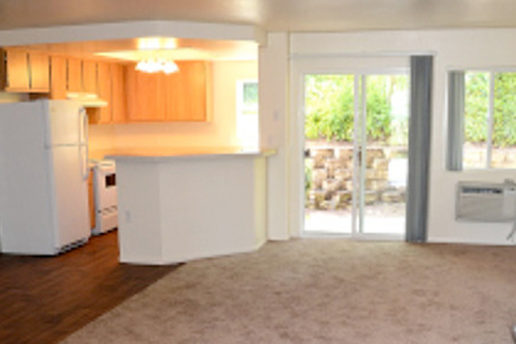 carpeted living room facing kitchen in corner with small island, and facing sliding door to balcony with window