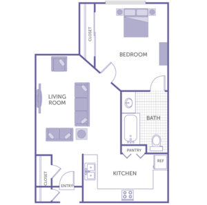 1 bed 1 bath floor plan, kitchen and pantry, living room, 2 closets