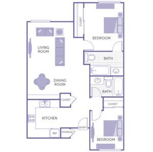 2 bed 2 bath floor plan, living room, dining room, kitchen, 3 closets, storage