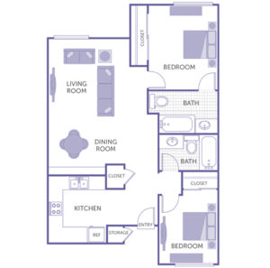 2 bed 2 bath floor plan, living room, dining room, kitchen, 3 closets, storage