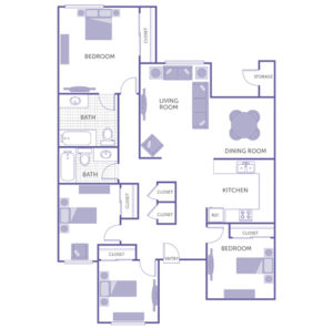 4 bed 2 bath floor plan, dining room, living room, kitchen, storage, 6 closets
