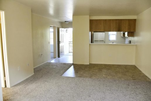 Carpeted living room with neutral color walls overlooking kitchen, front door and tiled dining area